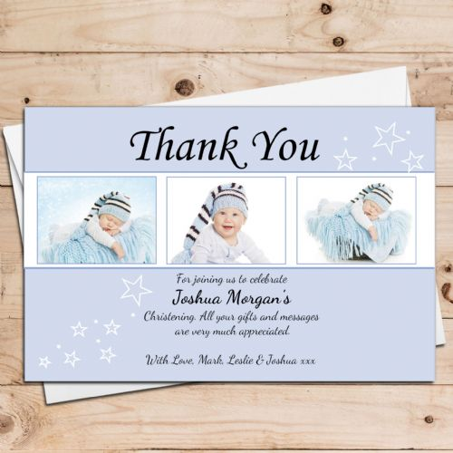 10 Personalised Boys Star Christening Baptism Thank you PHOTO Cards N27